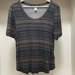 H&M Rayon Print Tee Size Large